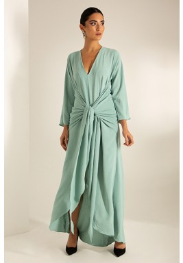 Green Belted Slit Maxi Dress
