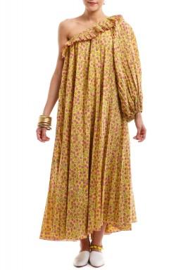 فستان فيونه مكشوف الكتف أصفر