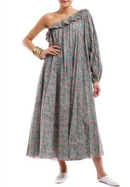 فستان فيونه مكشوف الكتف أخضر