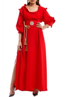 السيدة الأنيقة كريب أحمر مع حزام شواروفسكي
