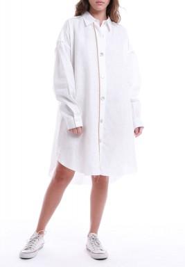 قميص أبيض فضفاض نمط فستان