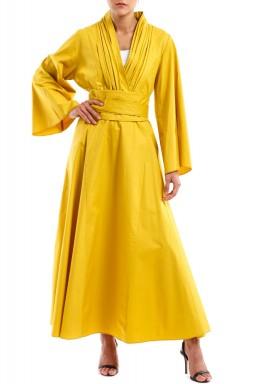 فستان بخط رقبة V أصفر