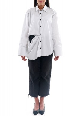 قميص شيز ذا مان أبيض بفتحة جانبية