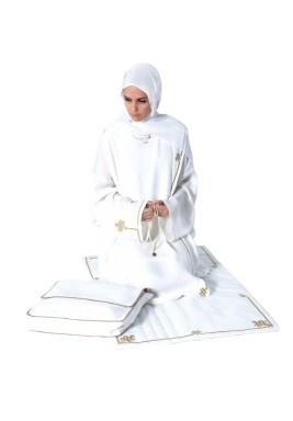 طقم صلاة كوفي أبيض مع حقيبة