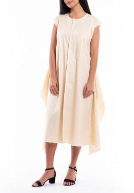 فستان بيج مشذب برفرفات