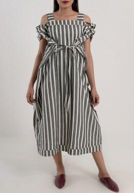فستان مخطط رمادي و ابيض