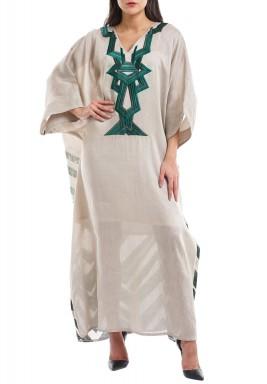 فستان لين الأخضر المطرز من الكتان