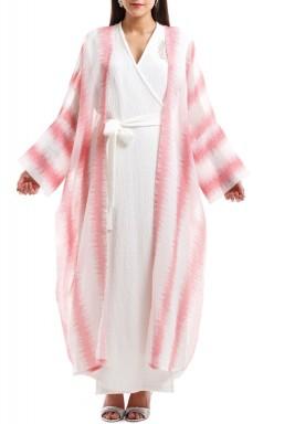 فستان الأميرة الأبيض مع بشت - زهري فاتح