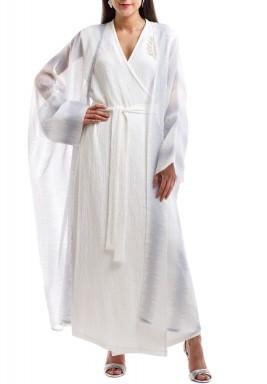 فستان الأميرة الأبيض مع بشت - أزرق فاتح