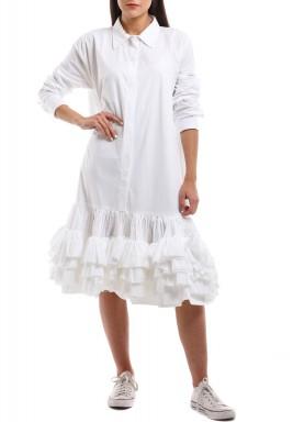 فستان أبيض برفرفات نمط قميص