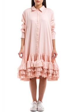 فستان قميص طويل خوخي