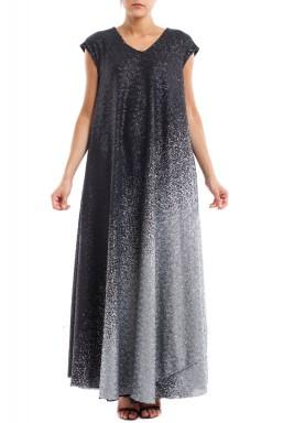 فستان رشة الفضة على أسود