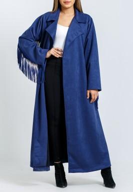 معطف أزرق ماكسي بشراشيب