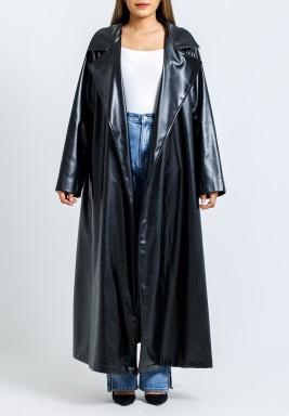 معطف أسود جلد بكسرات