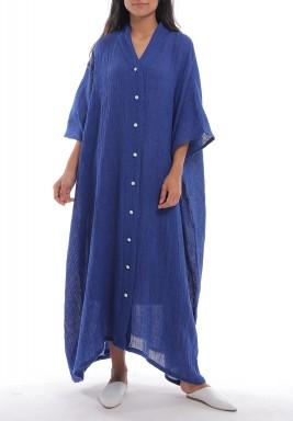 فستان أزرق متباين الطول بأزرار أمامية
