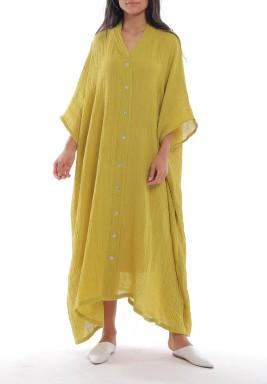 فستان خردلي متباين الطول بأزرار أمامية