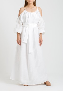 White Cold Shoulders Belted Kaftan