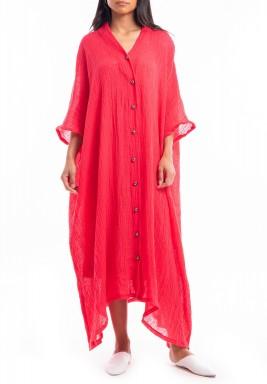 فستان وردي فضفاض متباين الطول