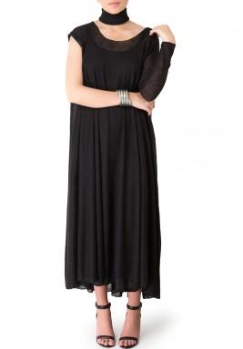 فستان أسود بكم واحد طويل