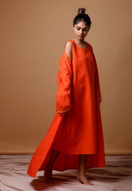 Orange Bisht Set