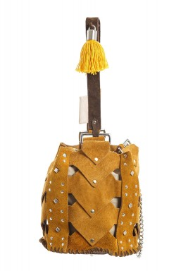 Vertebrae mustard bucket bag