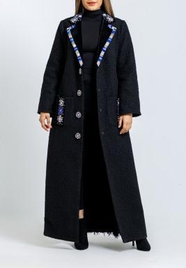 معطف أسود وأزرق مطرز ماكسي