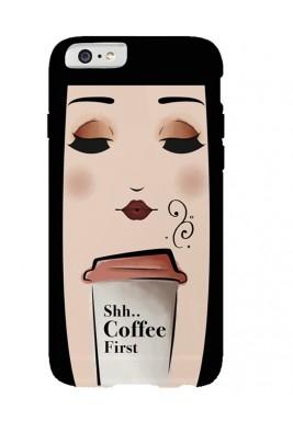 كفر هاتف مزين بكوب قهوة - أسود