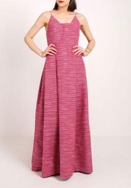 سباجيتي فستان بحمالات رفيعة وردي