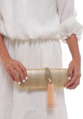 حقيبة بجلد ذهبي ولؤلؤ وحبات كريستال