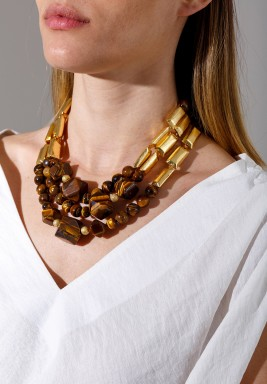 Tiger Eye Bronze Pieces Gold Plated Necklace