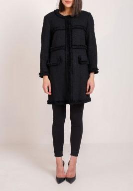 معطف تويدي أسود