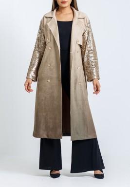 معطف بيج مطرز بالترتر