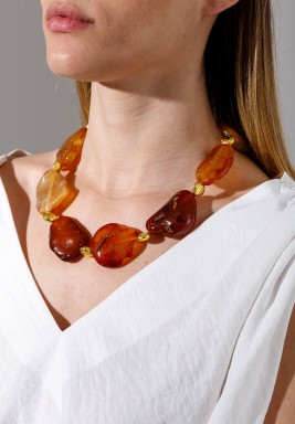 Gold Plated Volcanic Stones Necklace