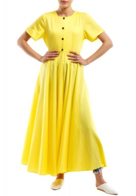 فستان أصفر نمط جاكيت