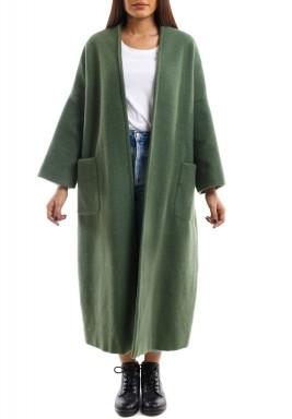 معطف أخضر ماكسي بأكمام طويلة