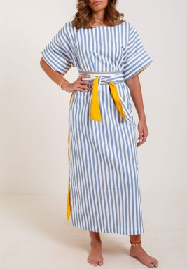فستان أزرق مخطط بظهر أصفر