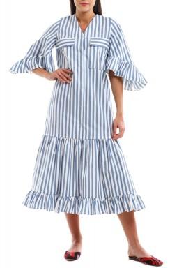فستان مقلم خطوط أزرق