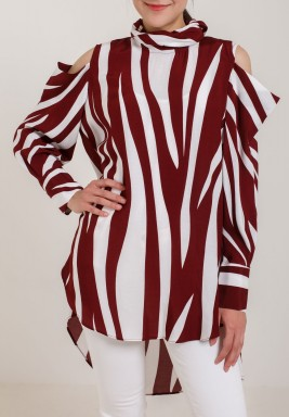 قميص بنمط نمر لون ماروني