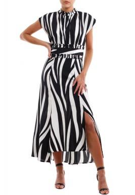 فستان مقلم خطوط أسود