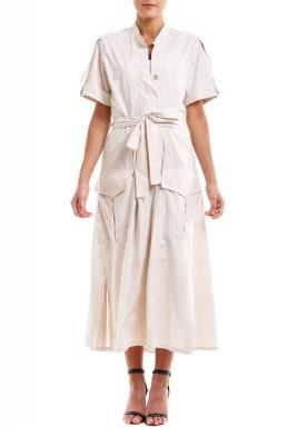 فستان بيج محزم متوسط الطول