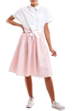 فستان بطرف سفلي مقلم مربعات وردي