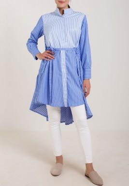 قميص طويل مخطط لون ازرق فاتح أو بيبي بلو