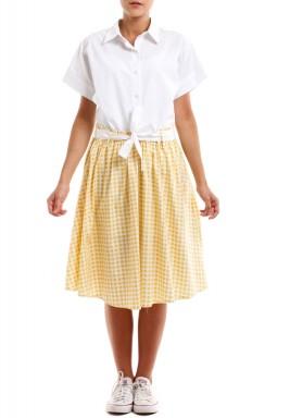 فستان أبيض وأصفر كاروهات