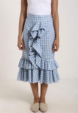 تنورة مربعة أزرق بيبي