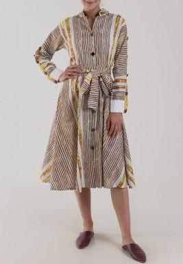 فستان مطرز أصفر