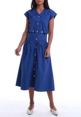 فستان أزرق بأزرار وأكمام قصيرة