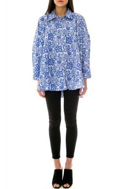 قميص دانتيل واسع - أزرق كوبالتي براق