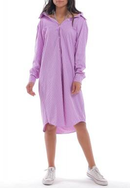فستان بنفسجي مخطط نمط قميص بسلسلة