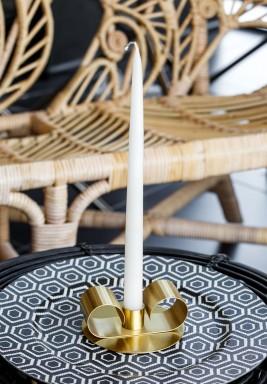 ترامونتو حامل شمعة ذهبي تصميم رفيع