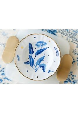 طقم صحن حساء بنقش الوردة الزرقاء